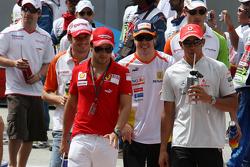 Giancarlo Fisichella, Force India F1 Team, Felipe Massa, Scuderia Ferrari, Fernando Alonso, Renault F1 Team, Lewis Hamilton, McLaren Mercedes