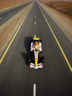 FIA's Vice-President for sport and 14-time Middle East Rally Champion Mohamed Ben Sulayem drives the Renault F1 R28 down a Dubai highway