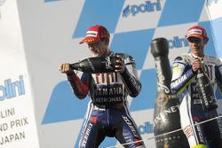 Podium: race winner Jorge Lorenzo, Fiat Yamaha Team, second place Valentino Rossi, Fiat Yamaha Team