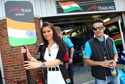 Grid girl and Parthiva Sureshwaren, driver of A1 Team India