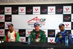 Salvador Duran, driver of A1 Team Mexico, Adam Carroll, driver of A1 Team Ireland, Narain Karthikeyan, driver of A1 Team India