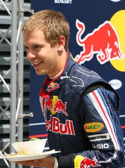 Sebastian Vettel, Red Bull Racing with his lunch