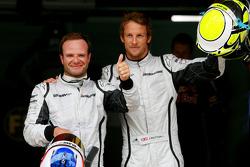 Rubens Barrichello, Brawn GP and pole winner Jenson Button, Brawn GP