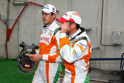 Adrian Sutil, Force India F1 Team and Giancarlo Fisichella, Force India F1 Team after being out in Q1