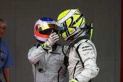 Race winner Jenson Button, Brawn GP with second place Rubens Barrichello, Brawn GP