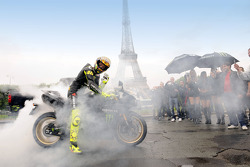 Valentino Rossi, Fiat Yamaha Team, does a burnout in front of the Eiffel Tower in Paris