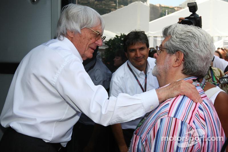 Bernie Ecclestone, President FOM en regisseur George Lucas