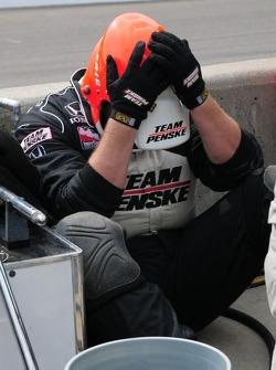 A Penske crew member after a pit stop