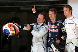 Rubens Barrichello, Brawn GP, Sebastian Vettel, Red Bull Racing and Jenson Button, Brawn GP