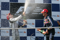 Podium: race winner Jenson Button, Brawn GP with second place Mark Webber