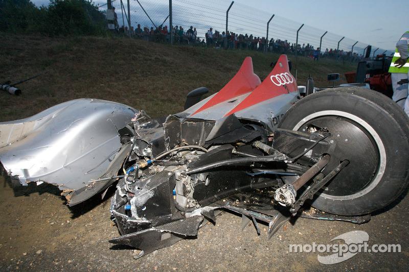 The #2 Audi Sport Team Joest Audi R15 TDI of Lucas Luhr after his crash at Porsche Curve
