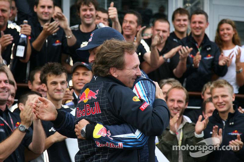Race winner Mark Webber, Red Bull Racing celebrates with Christian Horner, Red Bull Racing, Sporting