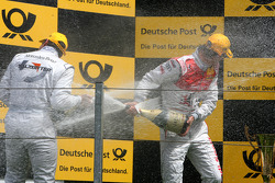Podium, Gary Paffett, Team HWA AMG Mercedes and Mattias Ekström, Audi Sport Team Abt, spraying champaign
