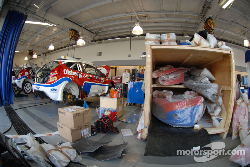 Ford Fiesta's are prepared at Phil Long Ford in Colorado Sprongs prior to practice