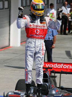 Race winner Lewis Hamilton, McLaren Mercedes, celebrates