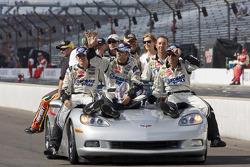 Race winner Jimmie Johnson, Hendrick Motorsports Chevrolet celebrates with a victory lap