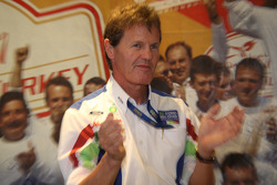 A delighted Malcolm Wilson leads the applause as Ford announce the news of a new two year agreement with M-Sport which will see the Ford Focus RS WRC continue in the WRC in 2010 and the new Ford Fiesta S2000 campaigned in 2011