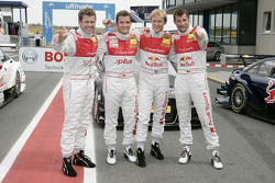 The top-4 qualifiers: pole winner Tom Kristensen, Audi Sport Team Abt Audi A4 DTM, with Timo Scheider, Audi Sport Team Abt Audi A4 DTM, Mattias Ekström, Audi Sport Team Abt Audi A4 DTM, Martin Tomczyk, Audi Sport Team Abt Audi A4 DTM