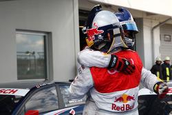Race winner Martin Tomczyk, Audi Sport Team Abt Audi A4 DTM  celebrates with Mattias Ekström, Audi Sport Team Abt Audi A4 DTM