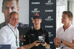 Sebastian Vettel, Red Bull Racing with his new Casio signature watch, David Coulthard, Red Bull Racing, Consultant