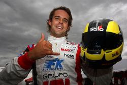 Andy Soucek celebrates taking pole position