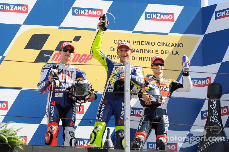 2009: 1. Valentino Rossi, 2. Jorge Lorenzo, 3. Dani Pedrosa