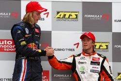Podium, Brendon Hartley, Carlin Motorsport, Dallara F308 Volkswagen, Sam Bird, Mücke Motorsport, Dallara F308 Mercedes
