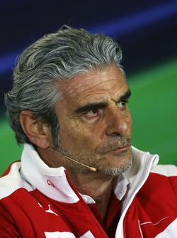 Maurizio Arrivabene, Ferrari Director del equipo en conferencia de prensa de la FIA