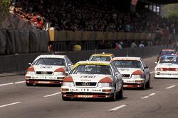 Frank Biela, Audi V8 quattro, vor seinen Audi-Markenkollegen Hans-Joachim Stuck und Hubert Haupt