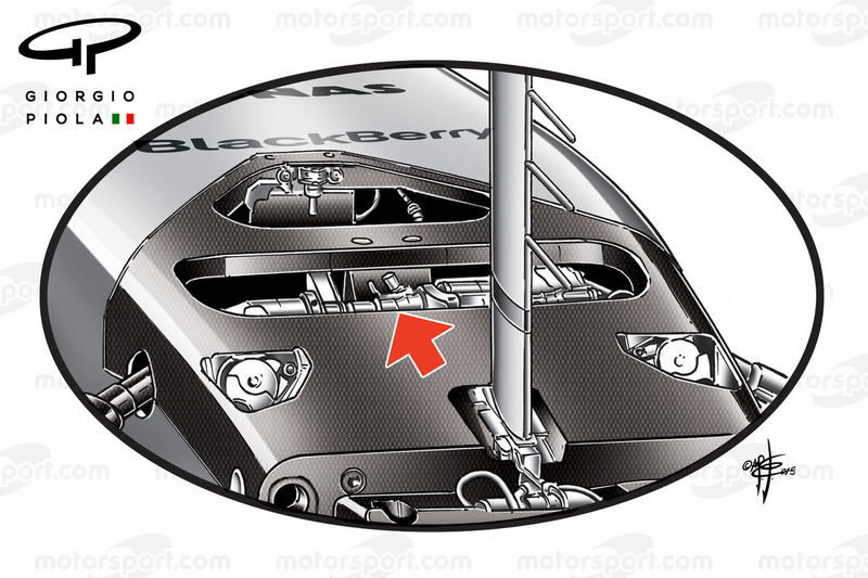 Mercedes W06, sezione della sospensione anteriore