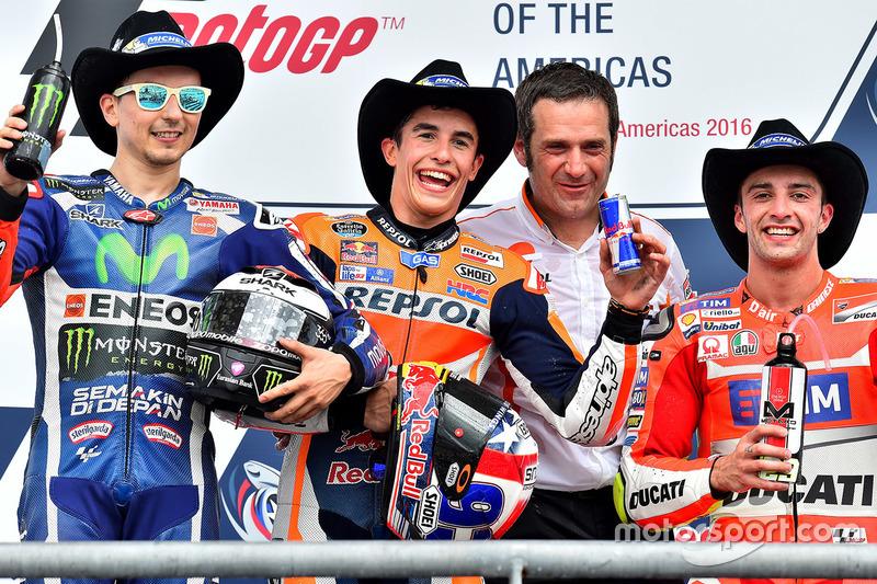2016: 1. Marc Marquez, 2. Jorge Lorenzo, 3. Andrea Iannone