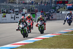 Jonathan Rea, Kawasaki Racing Team, Tom Sykes, Kawasaki Racing Team, e Chaz Davies, Aruba.it Racing - Ducati Team