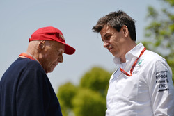 Niki Lauda, Mercedes Non-Executive Chairman en Toto Wolff, Mercedes GP Executive Director