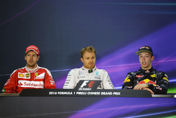 Press conference: winner Nico Rosberg, Mercedes AMG F1 Team, second place Sebastian Vettel, Ferrari, third place Daniil Kvyat, Red Bull Racing