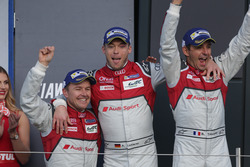 (L to R): Race winners Marcel Fassler, Andre Lotterer, Benoit Treluyer, #07 Audi Sport Team Joest Audi R18 celebrate on the podium