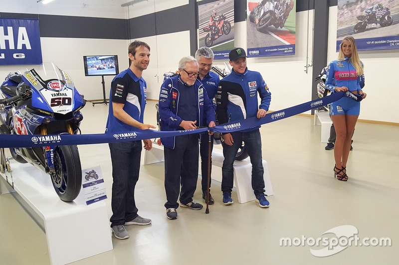 The ribbon cutting ceremony with Sylvain Guintoli and Alex Lowes