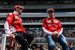 Kimi Raikkonen, Ferrari and Sebastian Vettel, Ferrari during the drivers parade