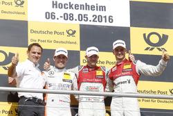 Podium: Hans-Jürgen Abt,, Teamchef Abt-Audi; 2. Robert Wickens, Mercedes-AMG Team HWA, Mercedes-AMG C63 DTM; 1. Edoardo Mortara, Audi Sport Team Abt Sportsline, Audi RS 5 DTM; 3. Nico Müller, Audi Sport Team Abt Sportsline, Audi RS 5 DTM