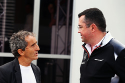 (L to R): Alain Prost, with Eric Boullier, McLaren Racing Director