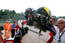 Andy Soucek celebrates third place and the Championship win in Parc Ferme with second place finisher Mirko Bortolotti
