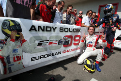 Andy Soucek celebrates third place and the Championship win in Parc Ferme