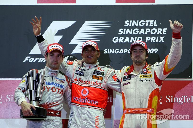 2009: 1. Lewis Hamilton, 2. Timo Glock, 3. Fernando Alonso