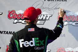 Pole winner Denny Hamlin, Joe Gibbs Racing Toyota