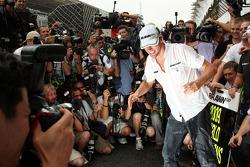 Jenson Button, BrawnGP celebra el campeonato con el equipo BrawnGP