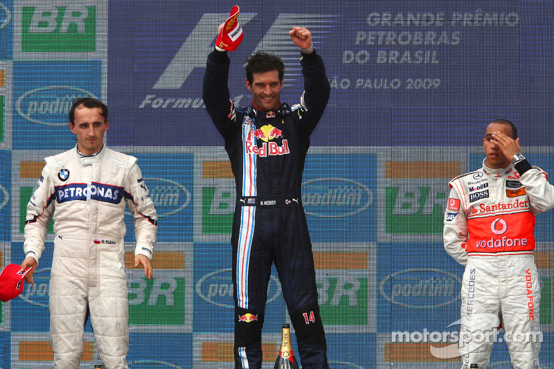 Podium: race winner Mark Webber, Red Bull Racing, second ...