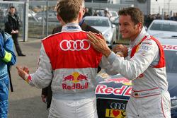 Timo Scheider, Audi Sport Team Abt congratulates Mattias Ekström, Audi Sport Team Abt with his pole position