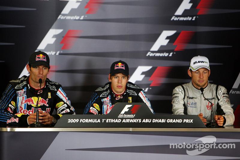 Conferencia de prensa de la FIA: ganador de la carrera Sebastian Vettel, Red Bull Racing, y el segundo lugar Mark Webber, Red Bull Racing