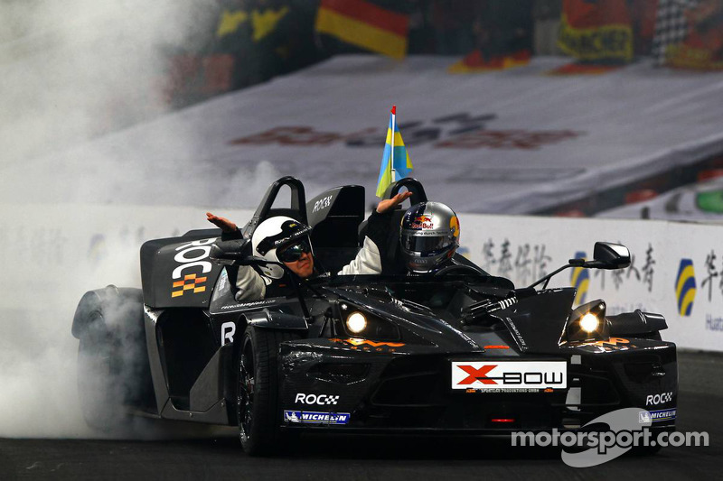 Race of Champions winner Mattias Ekström celebrates