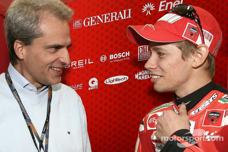 Valencia GP CEO Generali Group Balbinot y Casey Stoner, Ducati Marlboro Team