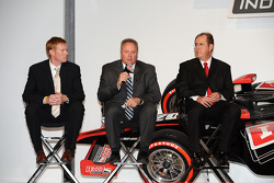 Brian Barnhart, center, president of competition and racing operations for the Indy Racing League, is flanked by John Lewis, left, vice president of marketing for the Indy Racing League and Jeff Belskus, president and CEO of the Indianapolis Motor Speedwa